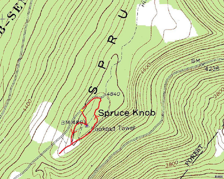 Spruce Knob Summit Hike Route Map