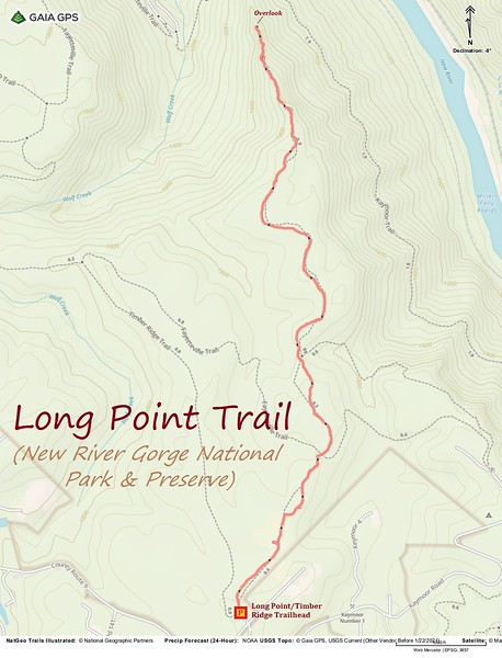 Long Point Trail Hike Route Map