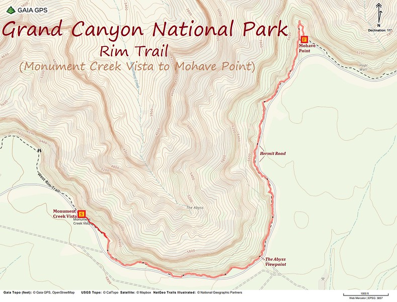 Rim Trail -- Monument Creek Vista to Mojave Point Route Map