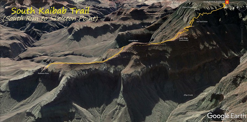South Kaibab Trail to Skeleton Point -- Route Map