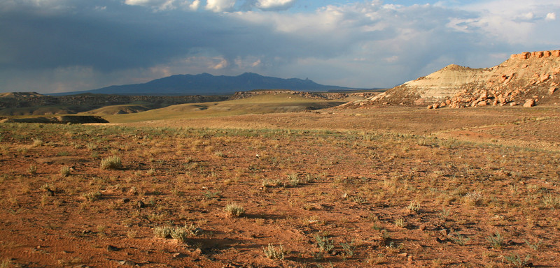 Looking into Colorado from the Four Corners with Ute Mountain in the distance...
