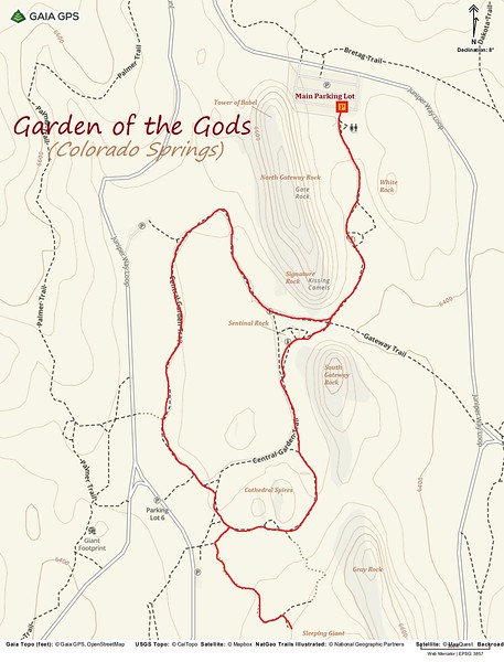 Garden of the Gods Hike Route Map