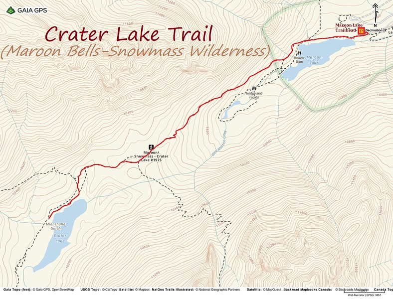 Crater Lake Trail Hike Route Map