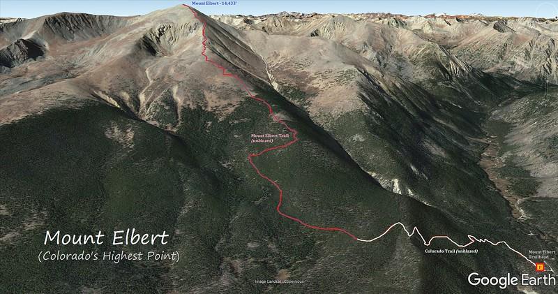 Mount Elbert Hike Route Map