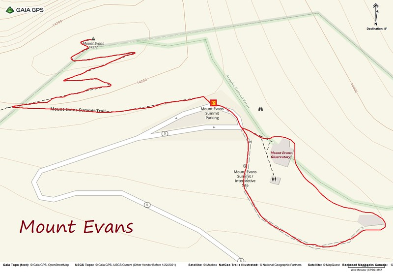 "Mount Evans Summit ""Hike"" Route Map"