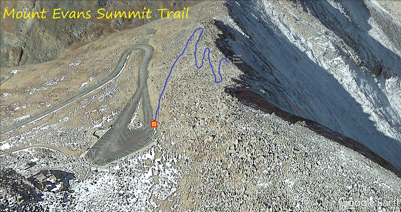 """Mount Evans Summit """"Hike"""" Route Map"""
