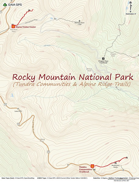 "Rocky Mountain National Park ""Hikes"" Route Map"