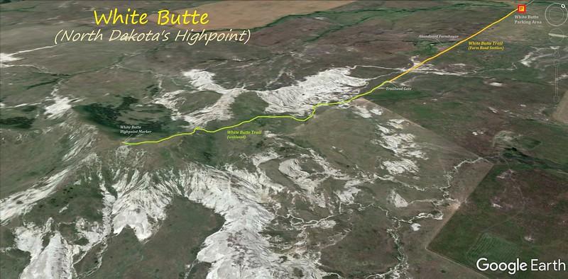 White Butte (North Dakota) Hike Route Map