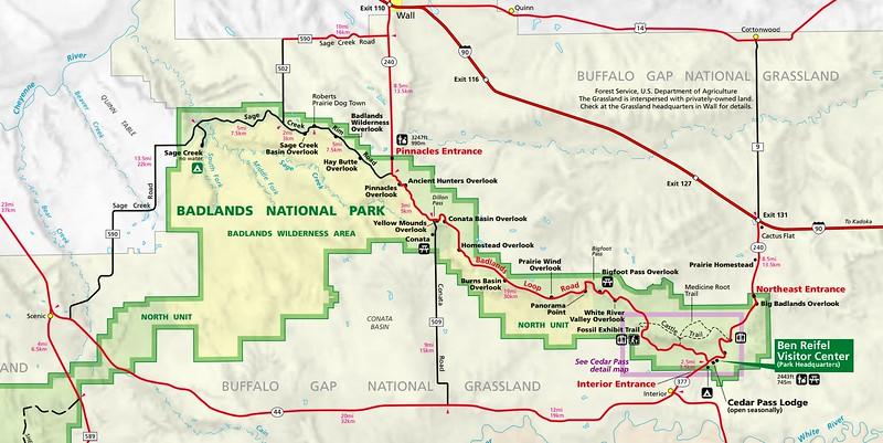 Badlands National Park Map (North Unit)