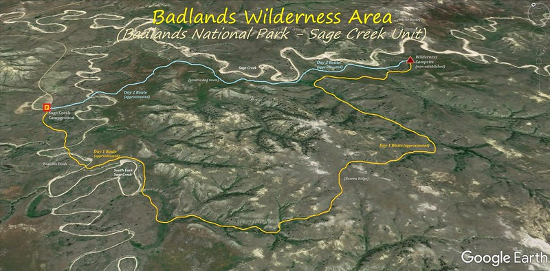 Badlands Wilderness Area Hike Route Map