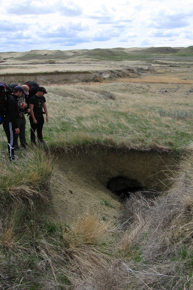 At one point we passed a large hole in the ground caused by runoff...
