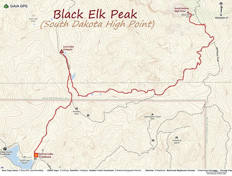 Black Elk Peak Hike Route Map