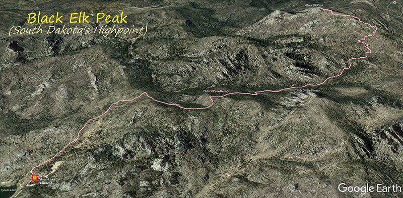 Black Elk Peak Hike Route Map
