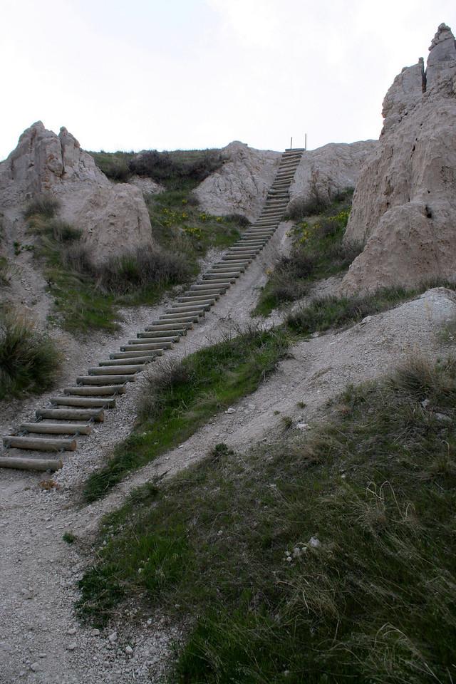 A handy, but rather shaky ladder leads a bit higher up the cliffs...