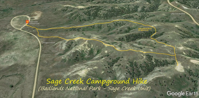 Sage Creek Campground Hike Route Map