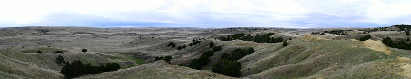 The sweeping panorama of Buffalo Gap National Grassland from the top of the ridge...