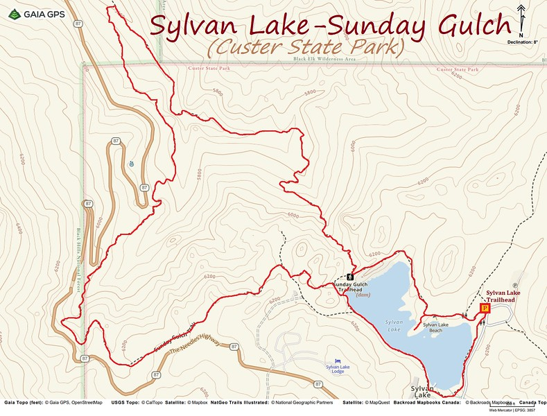 Sylvan Lake-Sunday Gulch Hike Route Map