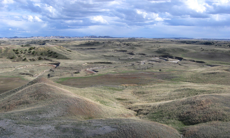 Sage Creek with the spires of the Badlands beyond from the summit of White Butte...