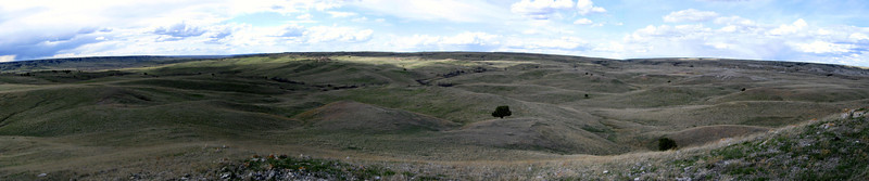 To the north of White Butte are the rolling hills of Buffalo Gap National Grassland...