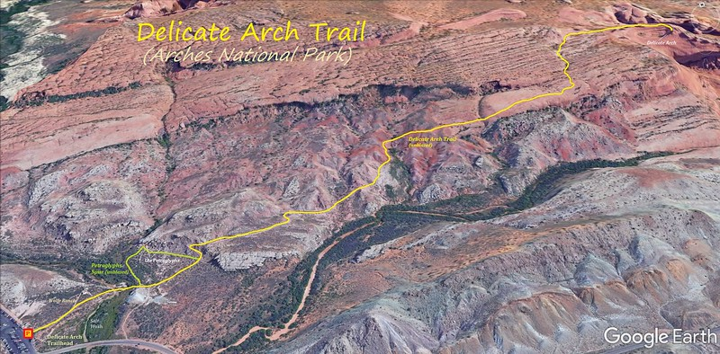 Delicate Arch Trail -- Route Map