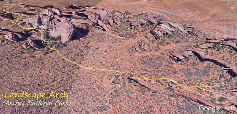 Devil's Garden Trail to Landscape Arch -- Route Map