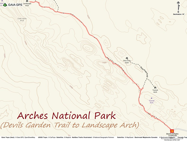 Devil's Garden Trail to Landscape Arch -- Route Map