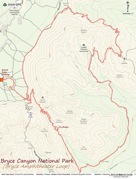 Bryce Amphitheater Loop Route Map
