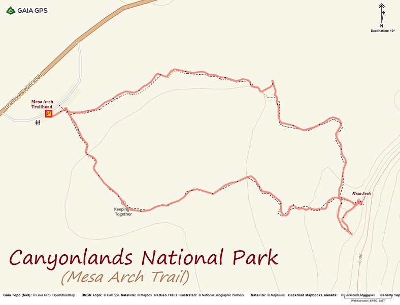 Mesa Arch Trail Route Map