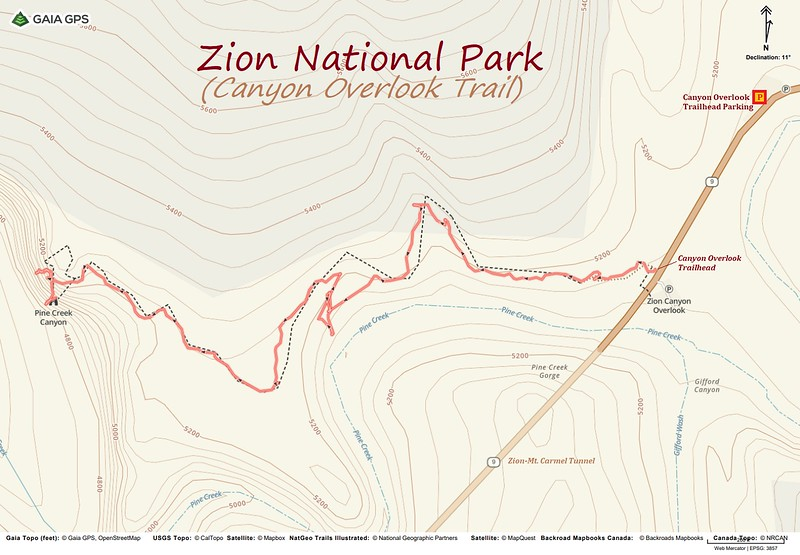 Canyon Overlook Trail -- Route Map