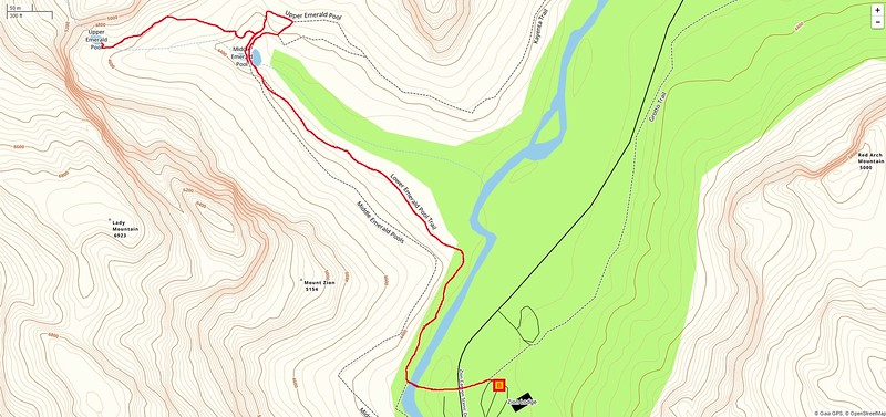 Emerald Pools Hike -- Route Map