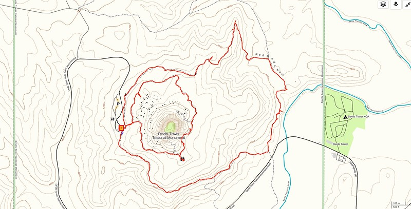 Devils Tower-Red Beds Hike Route Map