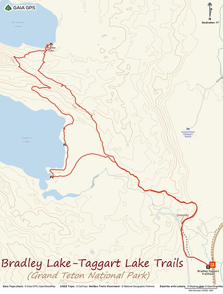 Bradley Lake/Taggart Lake Hike Route Map