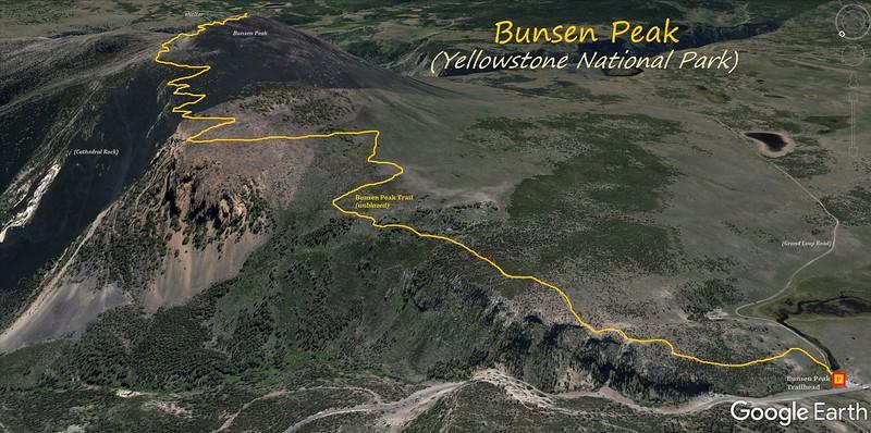 Bunsen Peak Hike Route Map