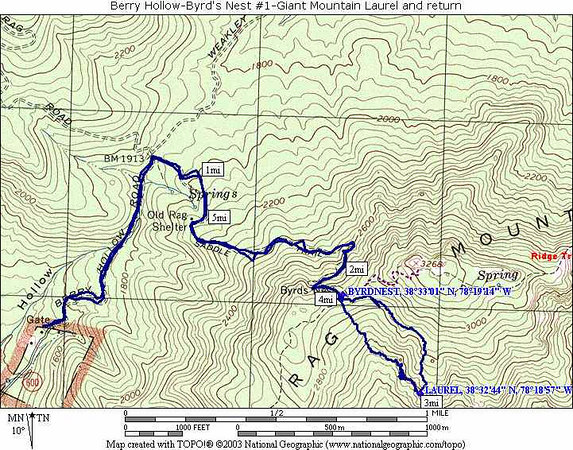Hike map Berry Hollow to the Great Laurel
