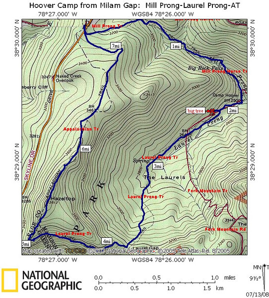 Hike Map and route