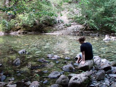 Cooling off some hot feet in Elk Lake Creek (crossing #3)