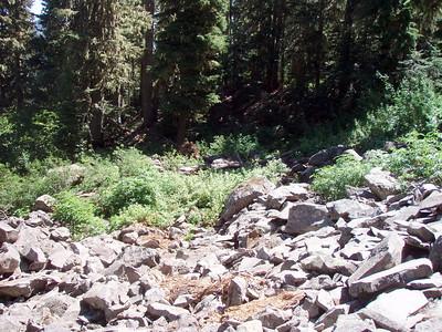 Looking back across rockslide on 544