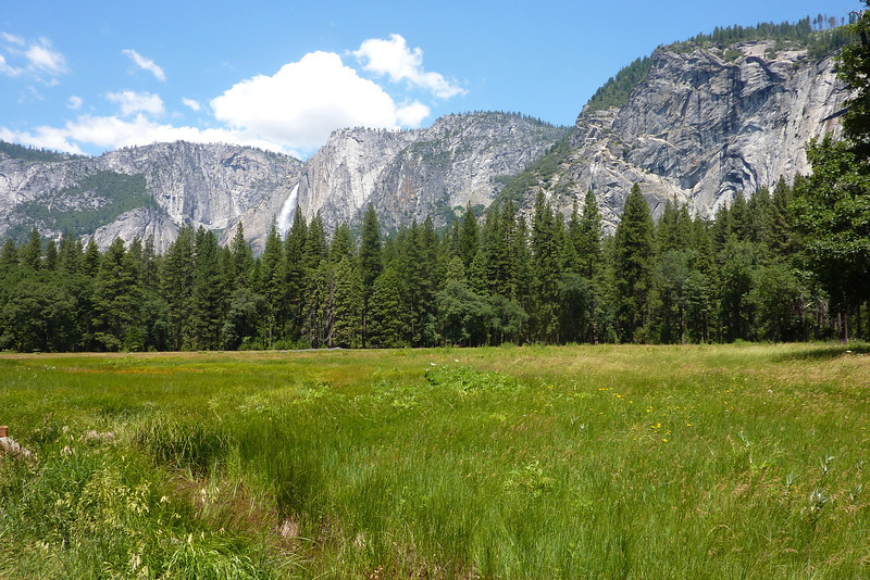 This is not part of the trail. Its where I parked my car across from Curry Village. You can catch the free shuttle bus for a ride to Happy Isles, 1 mile, where the Mist Trail starts. Yosemite Falls is in the background.