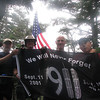 Guy, HikerEd, Paul, and Jeff (a NYC firefight who was at Ground Zero) with a special banner