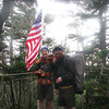 AT Thru-hikers Knock-on-Wood and YoopAK  (from Alaska) enjoy the flag before enjoying one of Boo's brownies
