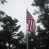 For a few minutes the flag was above the trees before the winds made us reassess the situation