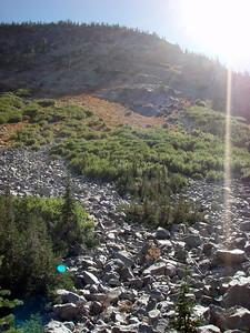 Bottom of a rockslide - Lostine River below