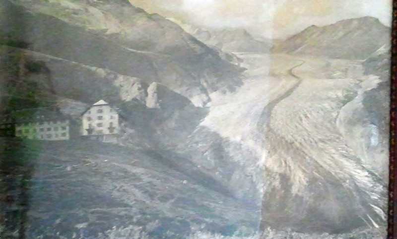 The glacier at the turn of the 19th - 20th century, shown with the hotel. Taken from a large framed photograph in the hotel.