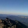 Panorama from Hawekeye Point - Looking south, panning west.  Mt Adams to the left, Mt Ranier to the right