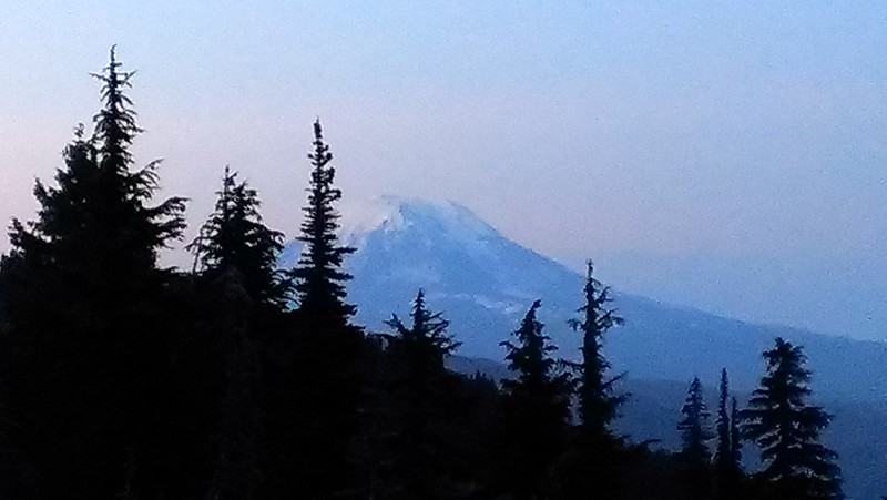 "Mt Adams from our campsite - near sunset - trying to get the ""alpenglow"" - we missed it a bit"
