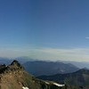 Panorama from on top of Hawkeye Point.  Mt Ranier on the left, panning east