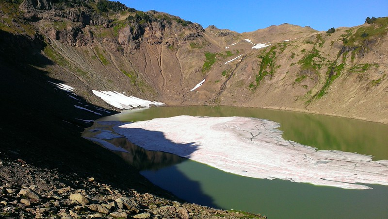 Our first look at Goat Lake - it is in a very deep bowl and it was amazing it still had ice in it.  This was the middle of September!!!!