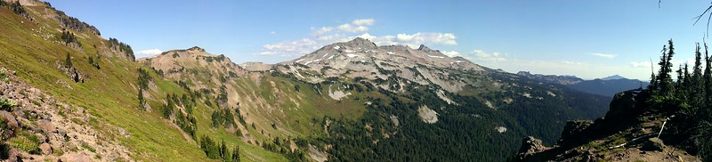 Panorama from saddle between Jordan Creek and Goat Creek basins.  Looking at Old Snowy and friends
