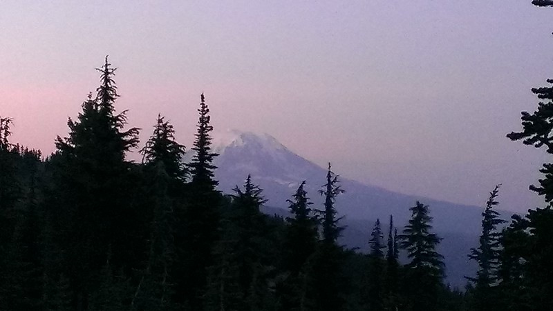 """Mt Adams from our campsite - nearing sunset - trying to get the """"alpenglow"""" - we missed it by a bit"""