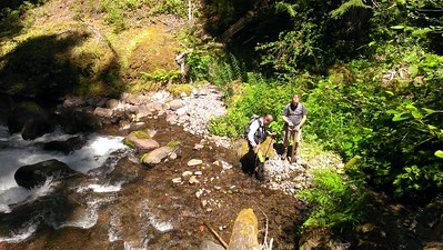 Kirk and Paul cooling off in the South fork of the Roaring River